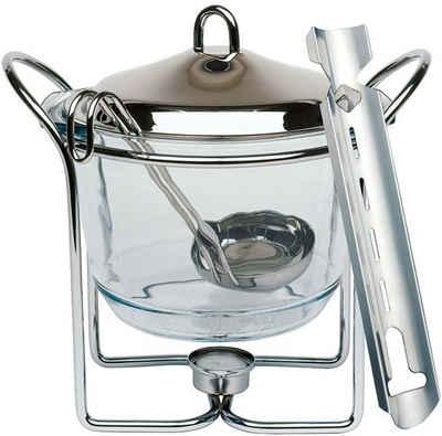 APS Bowle-Set, (Feuerzangenbowle mit Zuckerhutablage), Edelstahl/Glas, Inhalt 4 Liter
