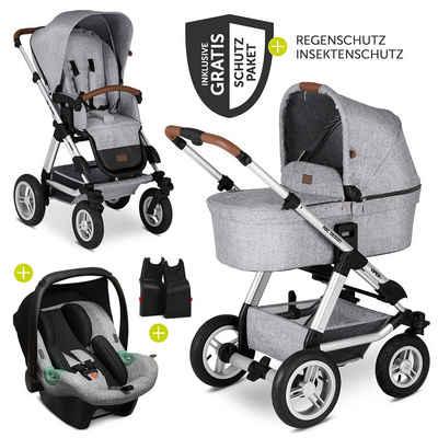 ABC Design Kombi-Kinderwagen »Viper 4 - Graphite Grey«, (9-tlg), 3in1 Kinderwagen-Set mit Lufträdern - inkl. Babyschale Tulip & XXL Zubehörpaket