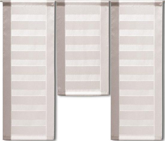 Scheibengardine »3er Set Miniflächen Scheibengardine Küchengardine Bistrogardine 2222 Beige Grau Organza«, EXPERIENCE, Stangendurchzug (3 Stück), 3er Set Flächenvorhänge