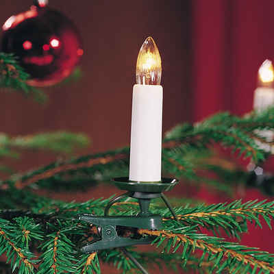 KONSTSMIDE LED-Christbaumkerzen, 25-flammig, LED Baumkette, Topbirnen, teilbarer Stecker, 25 warm weiße Dioden
