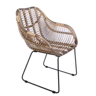 Casa Moro Rattanstuhl »Rattan-Sessel Madrid mit Armlehne aus Naturrattan handgeflochten, Vintage Korb-Stuhl moderner Korb-Sessel, Retro-Stuhl für Küche Esszimmer, IDSN56«, Handmade