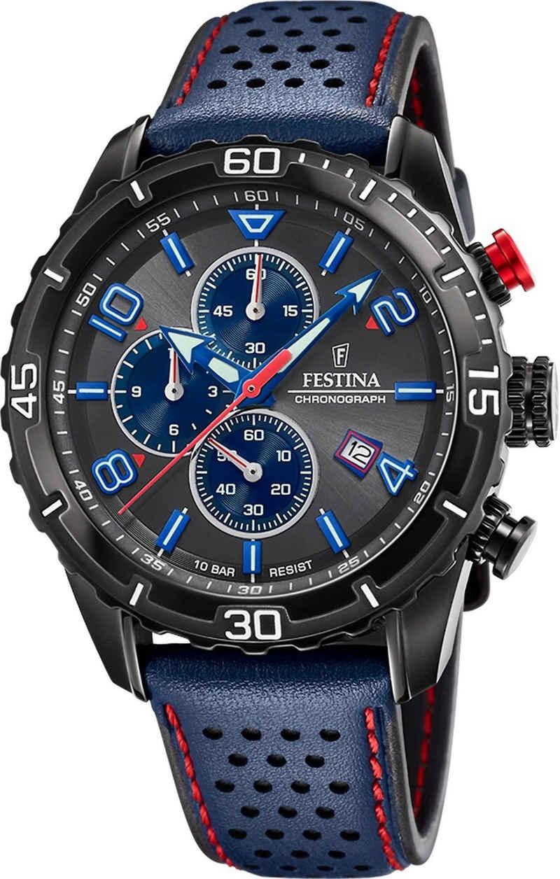 Festina Chronograph »UF20519/3 Festina Sport Herren Uhr F20519/3 Leder«, (Analoguhr), Herren Armbanduhr rund, Lederarmband blau, Sport