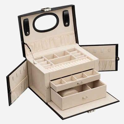AdelDream Schmuckkasten »YY-J06«, Abschließbares Aufbewahrungsgehäuse für Tropfenohrringe, Halsketten, mit großem Spiegel und Stauraum Schubladen
