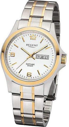 Regent Quarzuhr »D2URF128 Regent Metall Herren Uhr F-128 Armbanduhr«, (Quarzuhr), Herrenuhr mit Metallarmband, rundes Gehäuse, mittel (ca. 38mm), Elegant-Style