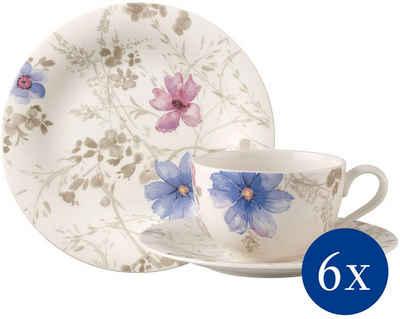 Villeroy & Boch Kaffeeservice »Mariefleur Gris Basic« (18-tlg), Porzellan, mit schönen Blumenmuster