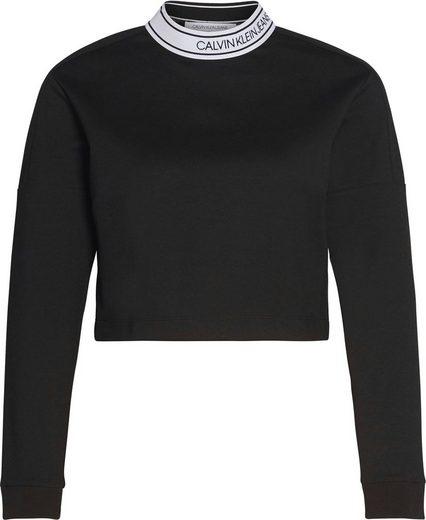Calvin Klein Jeans Langarmshirt »LOGO ELASTIC MILANO LS TOP« mit kontrastfarbenen Halsausschnitt & Calvin Klein Logo-Schriftzug