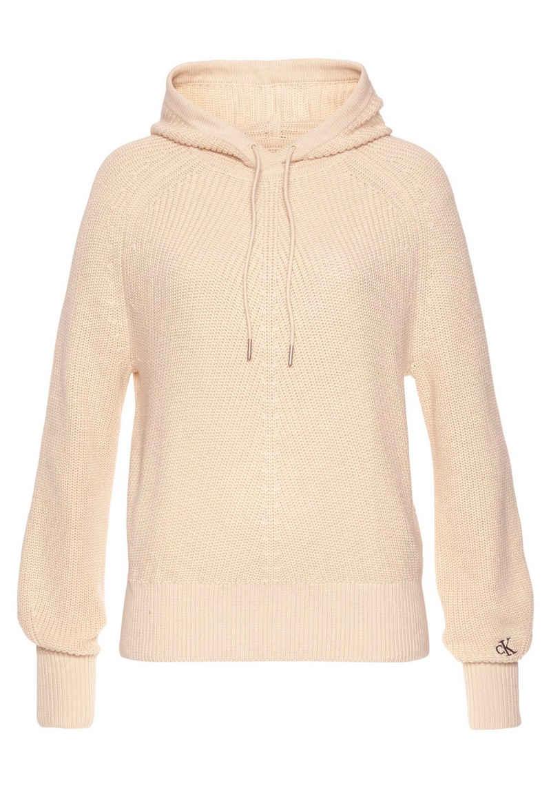 Calvin Klein Jeans Strickpullover »PREMIUM COTTON HOODIE SWEATER« in modischem Rippenstrick & CK Logo-Monogramm