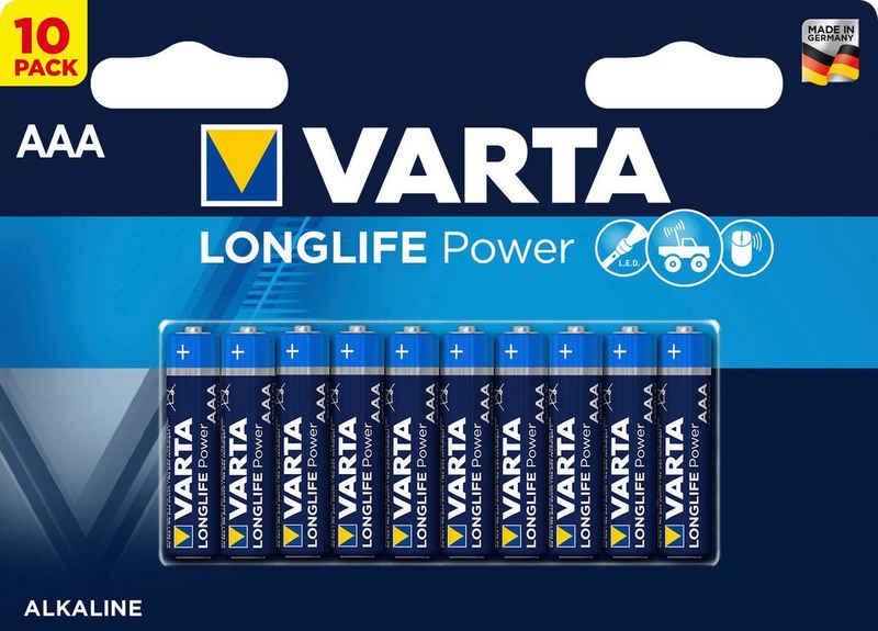 VARTA »LONGLIFE Power Alkaline Batterie AAA Micro LR03 10er Batterien Pack Made in Germany« Batterie, LR03 (1,5 V)