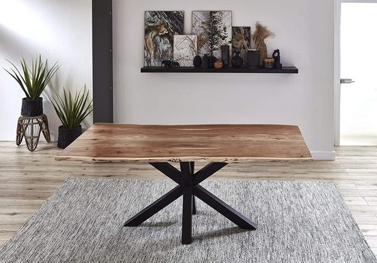 Junado® Baumkantentisch »Quincy_Tisch«, Baumkante Tisch massiv Akazie Spider-Gestell Quincy