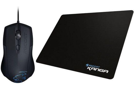 ROCCAT »Roccat Gaming Bundle Lua Tri-Button ergonomische Mouse mit Pro-Optic R2 Sensor + Kanga Gamer Mouse-Pad Maus-Pad« Gaming-Maus (kabelgebunden, 1000 dpi, LED-Beleuchtung Arktikblau, Soft-Touch Oberfläche, Pro-Optic R2 Sensor)