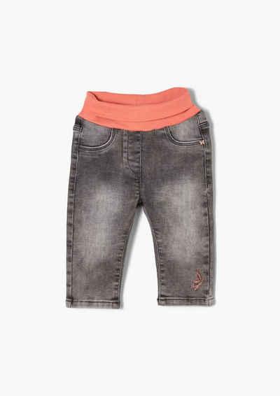 s.Oliver 5-Pocket-Jeans »Denim mit Umschlagbund« Waschung, Stickerei