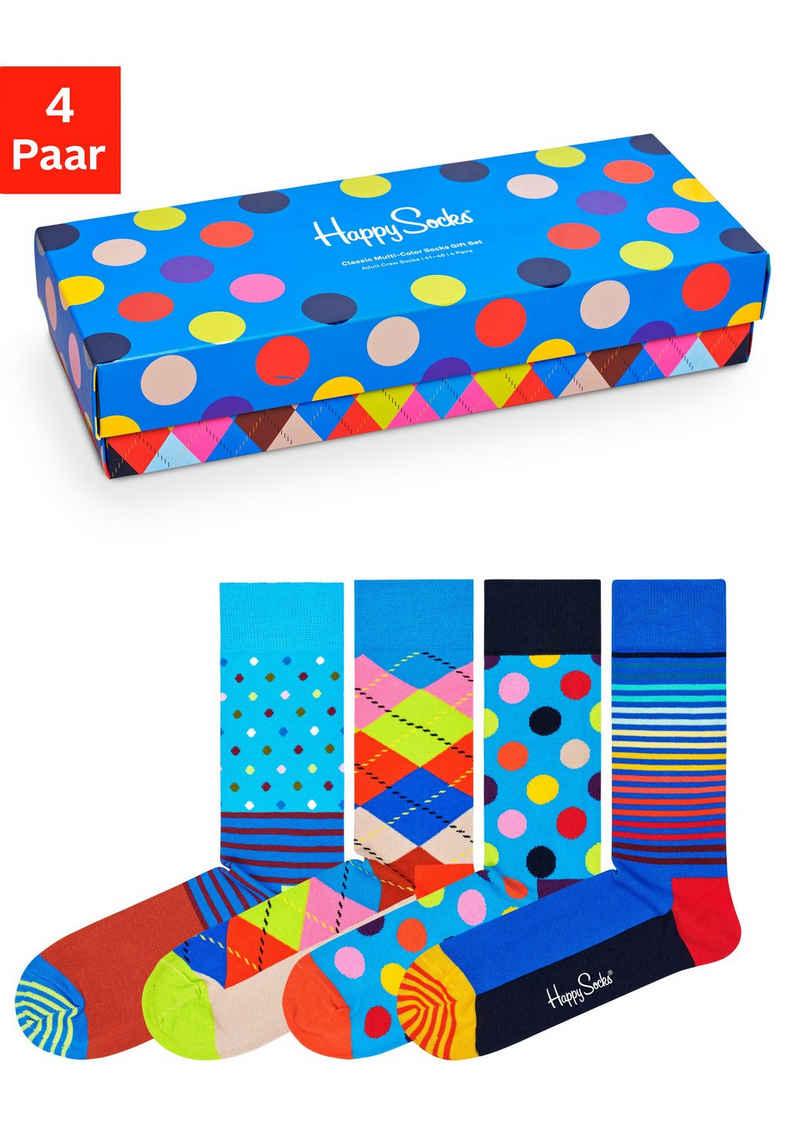 Happy Socks Socken (Box, 4-Paar) mit klassischen Mustern in Geschenkbox