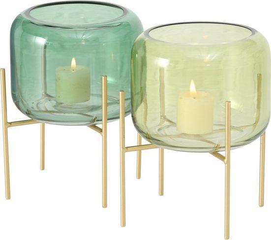 BOLTZE Windlicht »Leona« (Set, 2 Stück), aus Glas und Metall, Höhe 19 cm