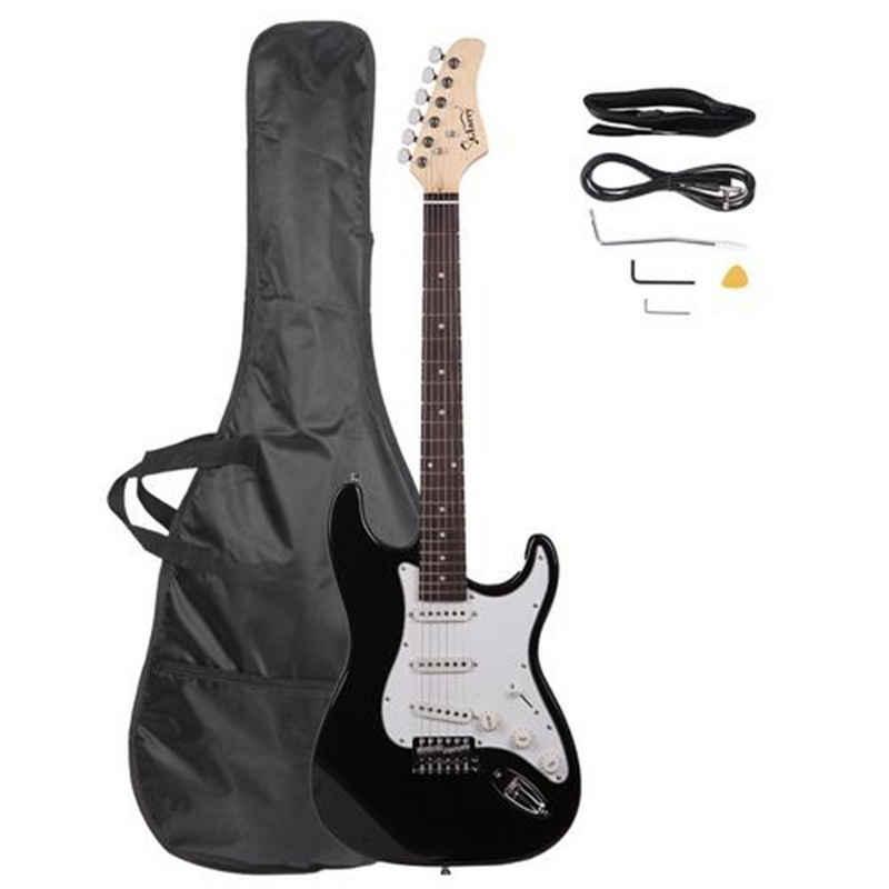Vaxiuja E-Gitarre »GST Single-Single-Single Pickup, Linden-Palisander-Griffbrett, ST-E-Gitarre, schwarz-weiße Schutzplatte«