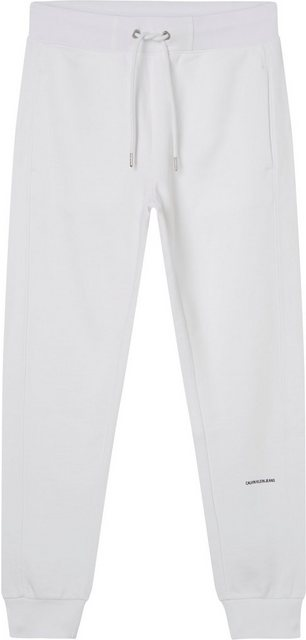 Hosen - Calvin Klein Jeans Jogginghose »MICRO BRANDING JOGGING PANT« mit Calvin Klein Jeans Micro Logo Schriftzug auf dem linken Bein › weiß  - Onlineshop OTTO