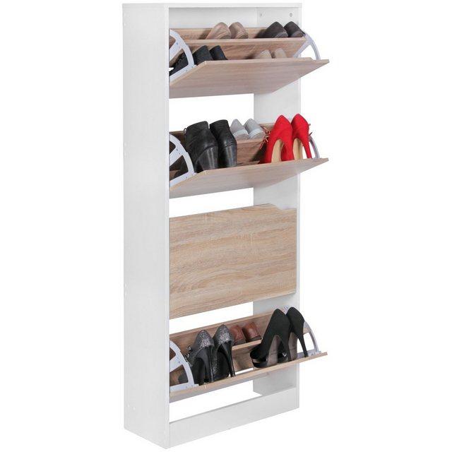 Schuhschränke und Kommoden - FINEBUY Schuhkipper »FB45015«, Schuhkipper mit 4 Fächern für 24 Paar Schuhe Moderner Schuhschrank in Sonoma Weiß Schuhkommode 60 x 24 x 150 cm  - Onlineshop OTTO