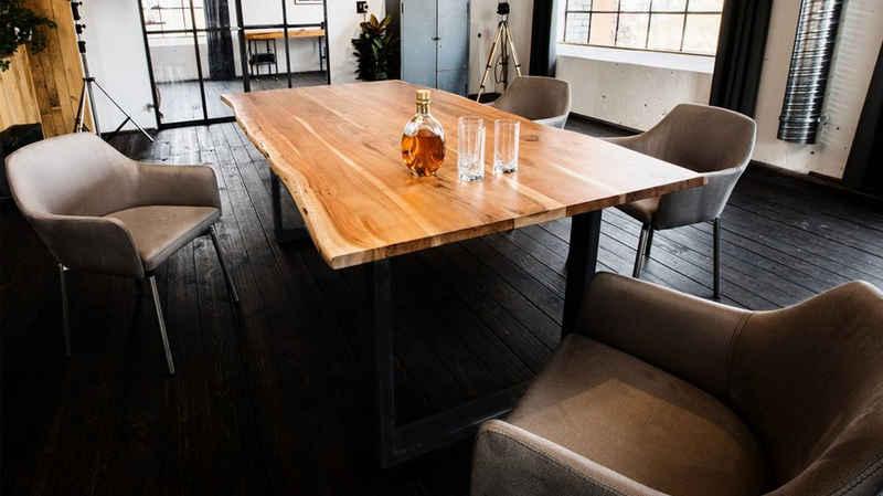 KAWOLA Esstisch »LORE«, Baumkantentisch Akazie Massivholz Baumkante versch. Größen Fuß schwarz
