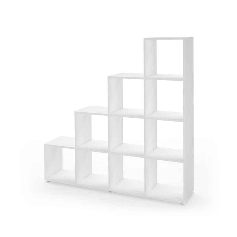 Vicco Stufenregal »Treppenregal 10 Fächer Weiß - Raumteiler Bücherregal Büro Büroregal Standregal«