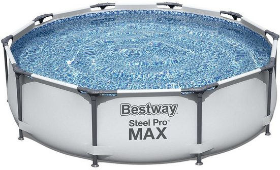 BESTWAY Framepool »BESTWAY Steel Pro MAX 366x76cm Stahlrahmenbecken, grau«