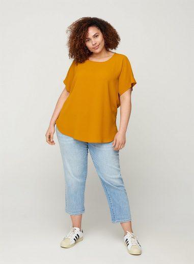 Zizzi Kurzarmbluse Große Größen Damen Einfarbige Bluse mit Rundhals