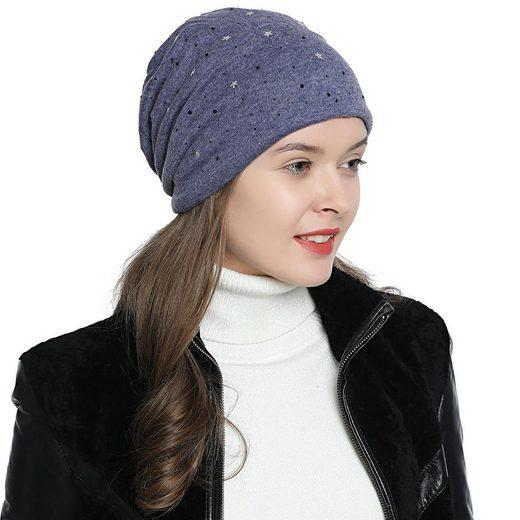 DonDon Beanie »Damen Slouch mit Print« (Packung, 1-St) Wintermütze, Beanie mit Pailletten-, Strass- oder Sternenprint, Teddyfleece