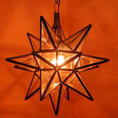 Casa Moro Hängeleuchte »Orientalische Hängelaterne marokkanische Lampe Nasima Transparent H 38 cm Ø 33 cm aus Eisen & Klarglas, Kunsthandwerk aus Marokko, Ein Leucht-Stern wie aus 1001 Nacht«