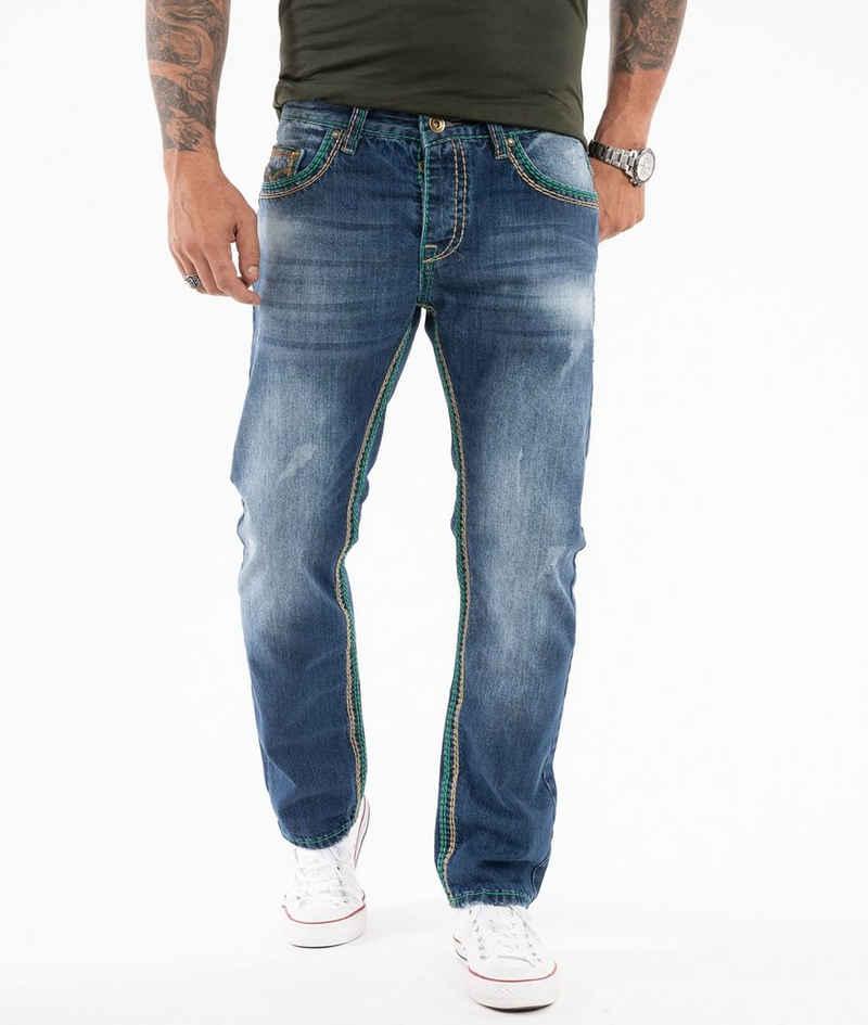 Rock Creek Straight-Jeans »Herren Jeans dicke Nähte RC-2369«