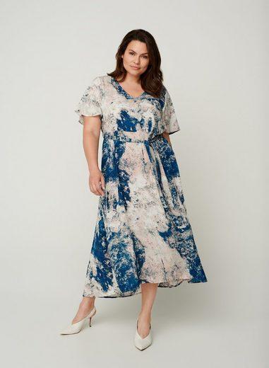 Zizzi Maxikleid Große Größen Damen Kurzarm Midi Kleid mit V Ausschnitt und Print