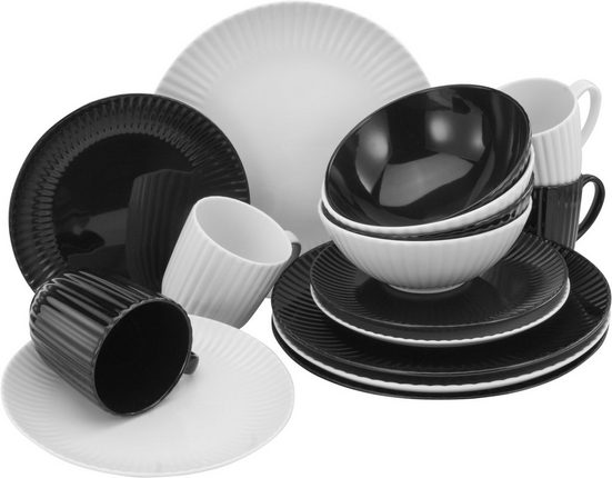 CreaTable Kombiservice »Allegra Black & White« (16-tlg), Porzellan, aktuelles Trend-Design in Schwarz/Weiß