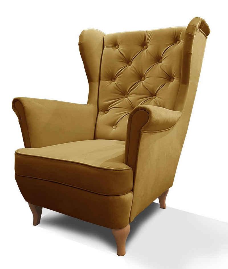 Mars Möbel Ohrensessel »Ohrensessel Sessel FALCO Chesterfield Wohnzimmersessel Fernsehsessel«
