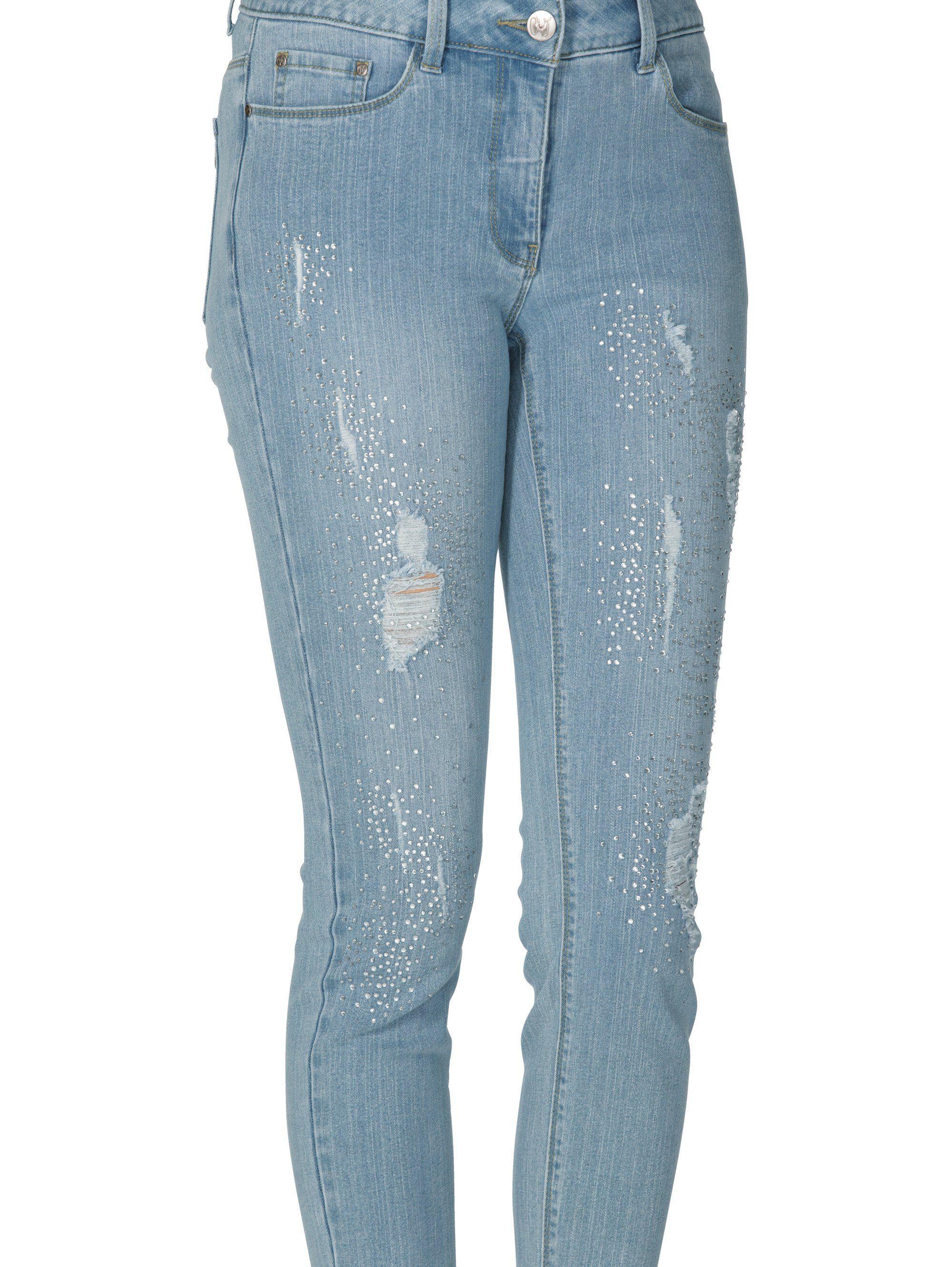 Amy Vermont Jeans Mit Strasssteindekoration Und Destroyed-effekten Online Kaufen