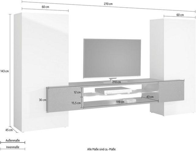 Wohnwände - Tecnos Wohnwand »AKKA«, Front Korpus Hochglanz lackiert, schieferfarben matt  - Onlineshop OTTO