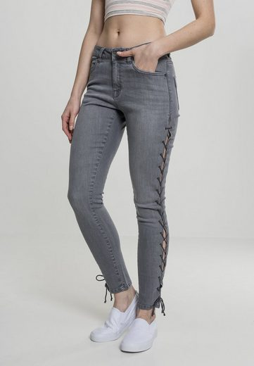 URBAN CLASSICS Bequeme Jeans »Ladies Denim Lace Up Skinny Pants«