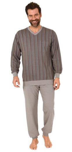 Normann Pyjama »Herren Schlafanzug Pyjama mit Bündchen in langarm - Streifenoptik - 112 101 90 518«