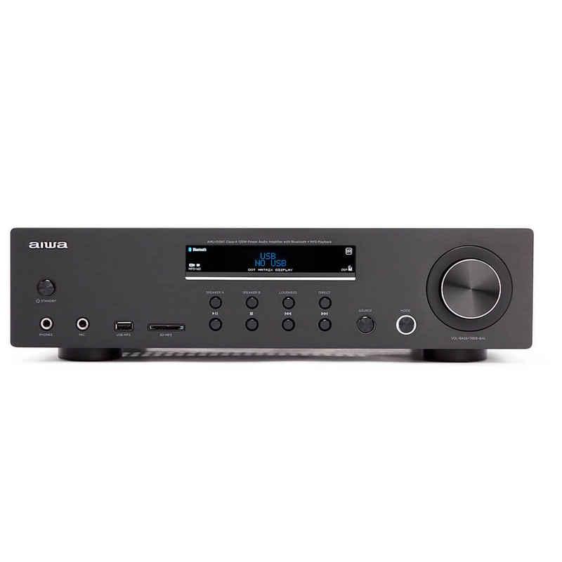 Aiwa »AMU-120BT AV-Empfänger und -Verstärker, Bluetooth v5.0-Empfänger, Ausgangsleistung = 2X 60 W« Audioverstärker (Anzahl Kanäle: 2, 120 W, Tonregelung Bass & Treble unabhängige Einstellungen +/- 10dB, Kanaltrennung > 80 dB bei 1 kHz, Vollalphanumerisches 16-Zeichen x 2-Zeilen-Punktmatrix-Display mit weißer LED-Hintergrundbeleuchtung und getöntem Prismenobjektiv)