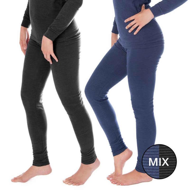 Black Snake Thermounterhose »ringel« (2 Stück) Damen lange Unterhosen mit Innenfleece 2er-Pack
