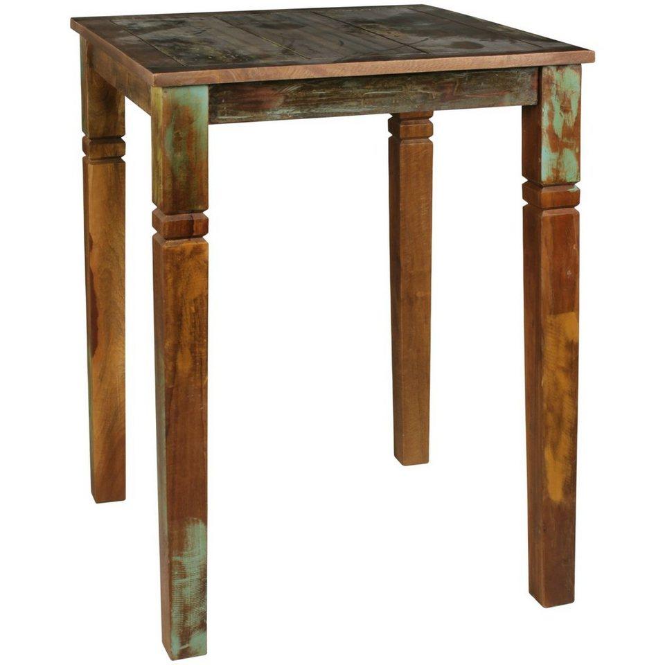 Wohnling Bartisch »WL455.455«, Stehtisch Kalkutta 455 x 455 x 455 cm Massivholz  für 45 Personen Rustikaler Tisch für Bar Partytisch Shabby Chic Hochtisch