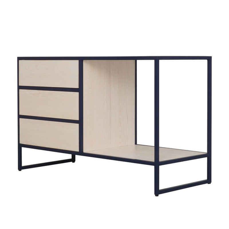 JOHANENLIES Sideboard »Upcycling Sideboard VAALS«, Recyceltes Bauholz und Stahl in Kobaltblau. Destrukturiertes Design. Nachhaltig. Handgefertigt.