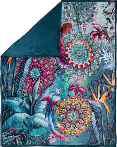 Plaid »Lovise«, hip, mit Mandala und Vögeln