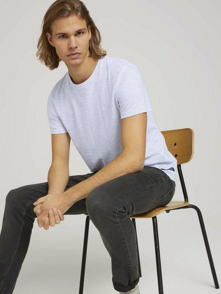 tom tailor denim -  T-Shirt »strukturiertes T-Shirt mit Bio-Baumwolle«