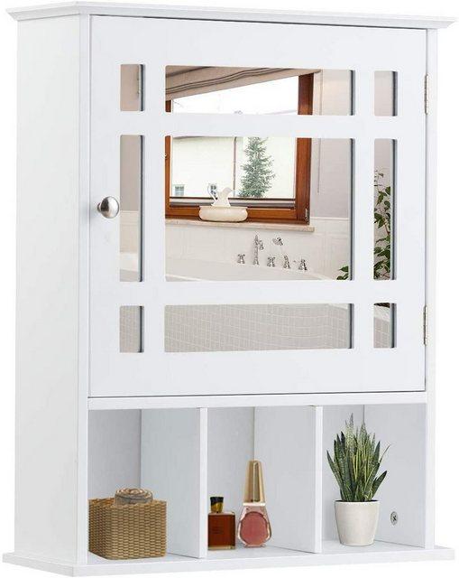 Badschränke - COSTWAY Hängeschrank »Badezimmerschrank« mit verstellbarem Einlegeboden und 3 offenen Fächern  - Onlineshop OTTO