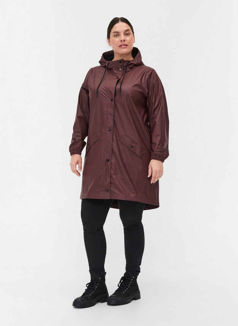 Zizzi Regenjacke Große Größen Damen Regenjacke mit Kapuze, Knöpfen und Taschen