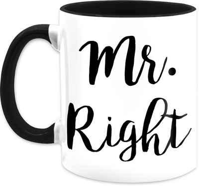 Shirtracer Tasse »Mr. Right - Valentinstag Partner Tassen - Tasse zweifarbig«, Keramik