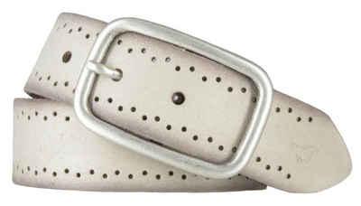 MUSTANG Ledergürtel »Mustang Damen Leder Gürtel Ledergürtel 35 mm creme«