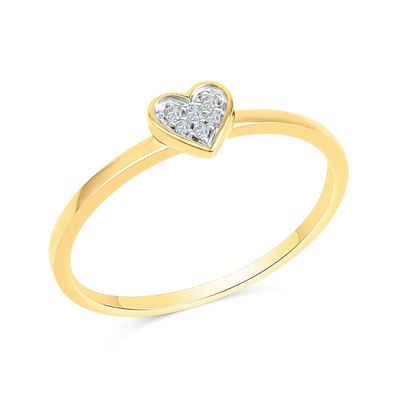 Diamonds by Ellen K. Fingerring »585/- Gelbgold zweifarbig Herz Brillanten 0,025ct.«, Ring