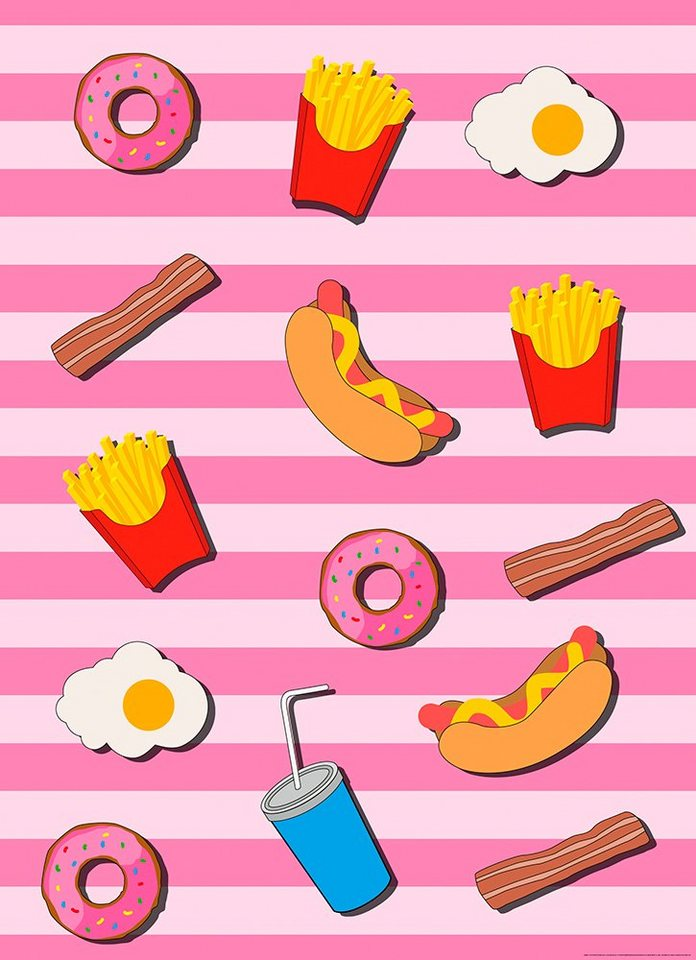 IDEALDECOR Fototapete »Fast Food Küche Pink«, Vlies, 2 Bahnen, 183 x 254 cm  online kaufen | OTTO