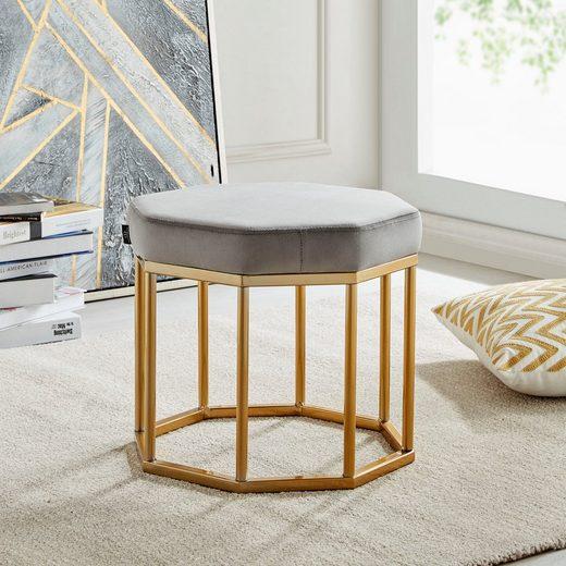 Leonique Hocker »Ayda«, mit einem schönen goldfarbenen Metallgestell, Breite 42 cm