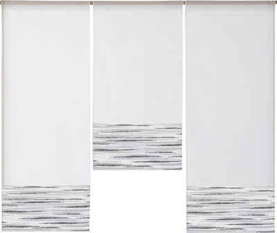 Scheibengardine »3er Set Miniflächenvorhänge Scheibengardine Schiebegardine Küchengardine Tunnelzug 4013 4031 Weiß Grau«, EXPERIENCE, Stangendurchzug (3 Stück), Store