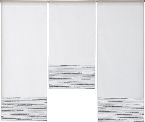 Scheibengardine »3er Set Miniflächenvorhänge Scheibengardine Schiebegardine Küchengardine Tunnelzug 4013 Weiß Grau«, EXPERIENCE, Stangendurchzug (3 Stück), Store