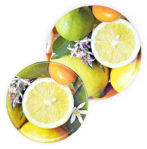 Lashuma Kombiservice »Zitrusfrüchte« (2-tlg), Melamin, Wurstteller Set, Servierplatten 16 und 20 cm